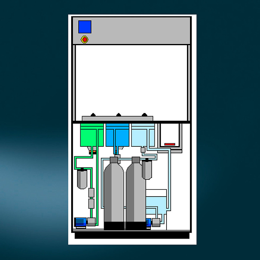 USC 100 - A sketch of the USC 100 diplaying 1 US-cleaning station,1 tap-water rinsing station, 1 DI-water rinsing station, 1 drying station.