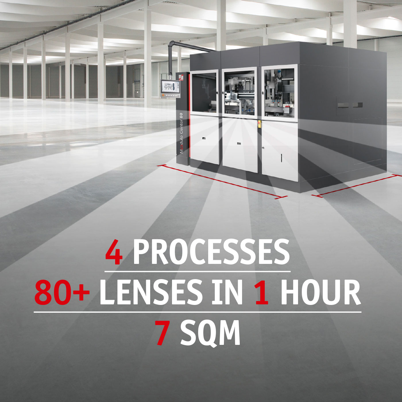 The MC 80 offers 4 processes in one with 80+ lenses per hour on just 7 square meters