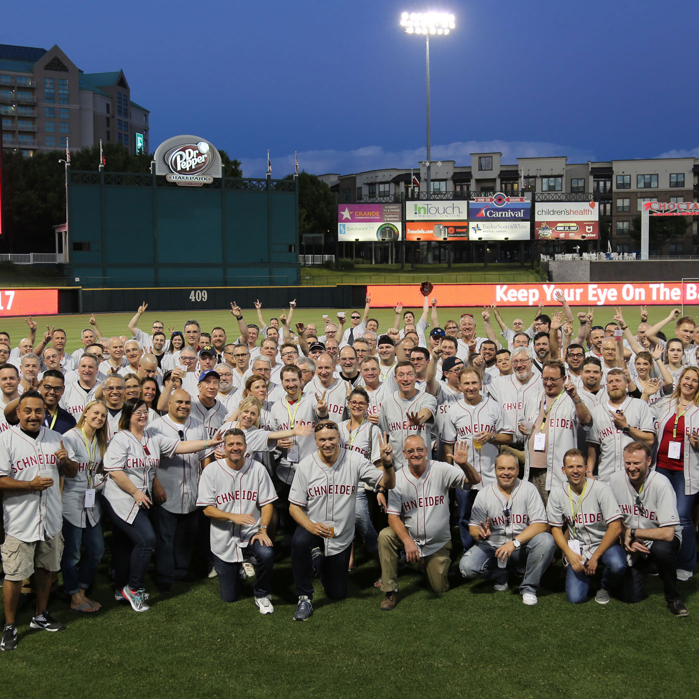 SCHNEIDER teams plays ball at baseball stadion in Frisco