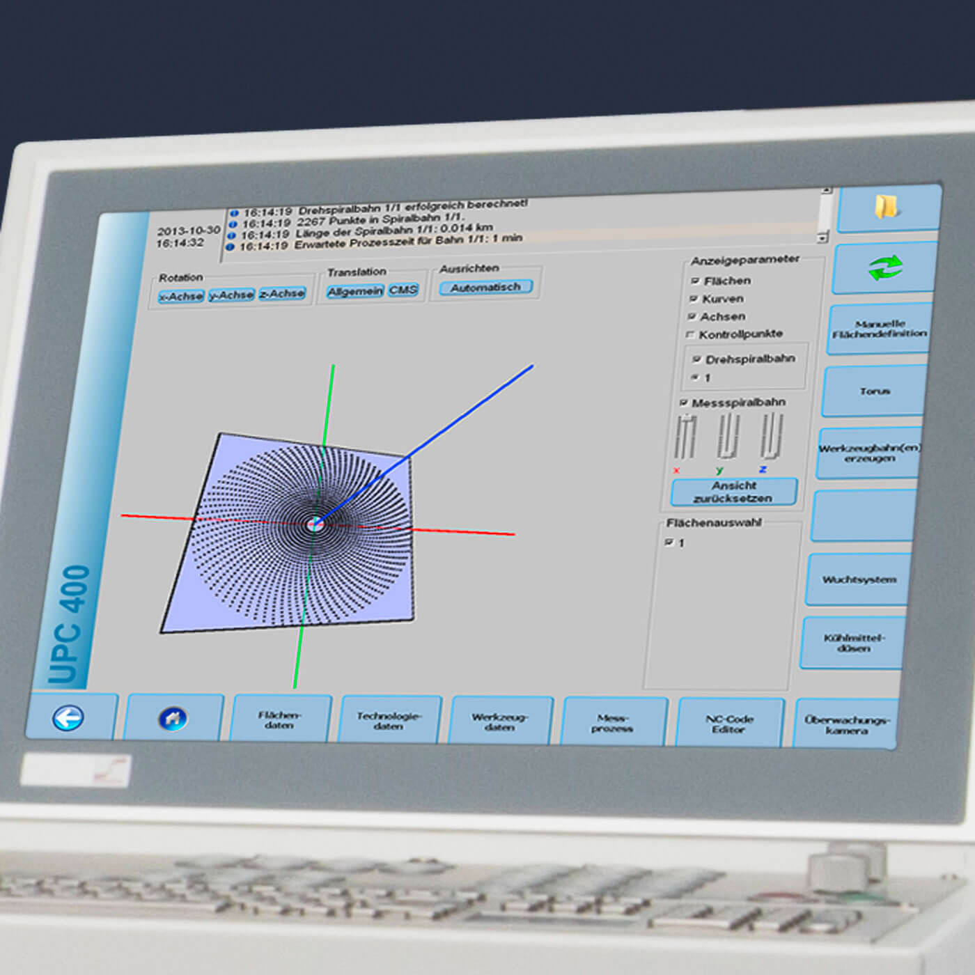 UPC 400 - Display with a 3D visualization of set point surface and spiral tool path